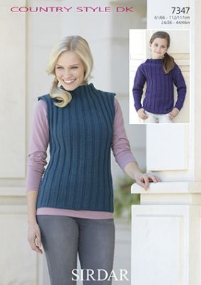 Sirdar Country Style DK - 7347 Sleeveless Top and Sweater Knitting Pattern